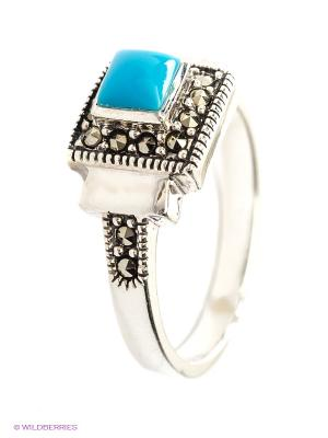 Кольцо МАРКАЗИТ. Цвет: голубой, серебристый