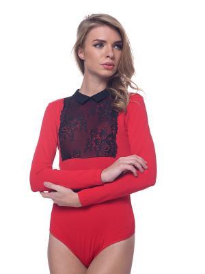 Блузка- боди Arefeva. Цвет: красный
