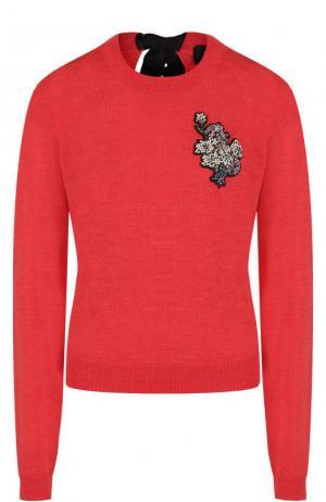 Шерстяной пуловер с контрастным бантом и декоративной отделкой Rochas. Цвет: красный