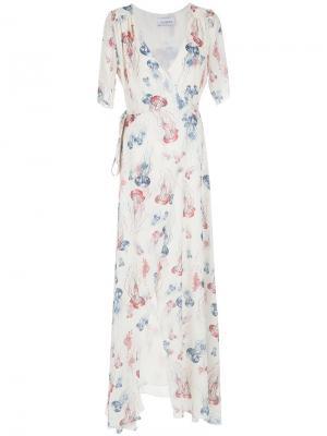 Длинное платье с запахом Olympiah. Цвет: телесный