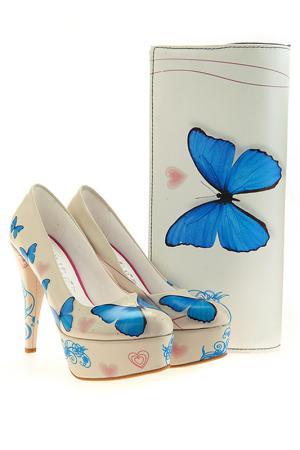 Комплект: туфли и клатч Elite Goby. Цвет: синий