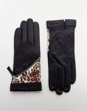Pia Rossini Кожаные перчатки с леопардовыми вставками. Цвет: черный
