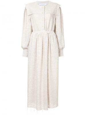 Длинное расклешенное платье Walk Of Shame. Цвет: телесный