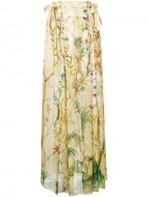 Юбка макси с цветочным принтом Alberta Ferretti. Цвет: телесный