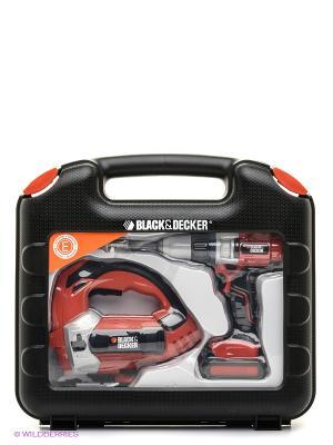 Набор дрель и лобзик в чемоданчике, 32*6,5*30см, 1/6 Smoby. Цвет: оранжевый, серый, черный