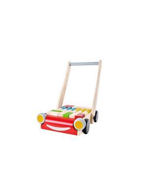 Тележка с блоками PLAN TOYS. Цвет: бежевый, красный, желтый, зеленый