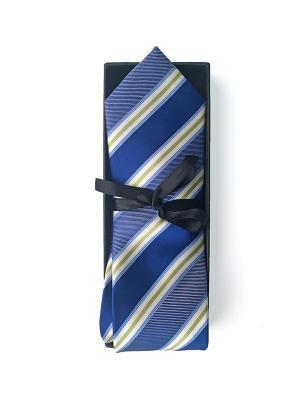 Мужской галстук LANYINGDI ГВ-027 с вышитым рисунком 100% шелк. Цвет: синий, белый, желтый