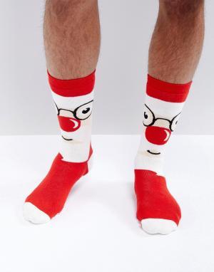 Urban Eccentric Новогодние носки-слиперы с Сантой. Цвет: мульти