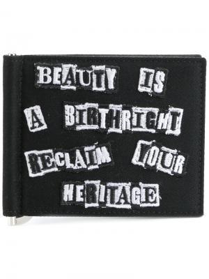 Бумажник с вышивкой Valentino. Цвет: чёрный