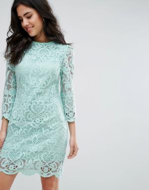 Darling Цельнокройное кружевной платье с рукавами 3/4. Цвет: синий