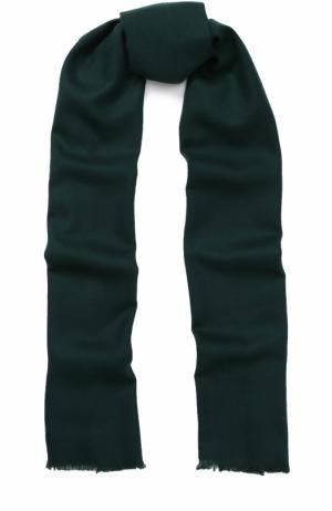 Шерстяной шарф с необработанным краем Johnstons Of Elgin. Цвет: темно-зеленый