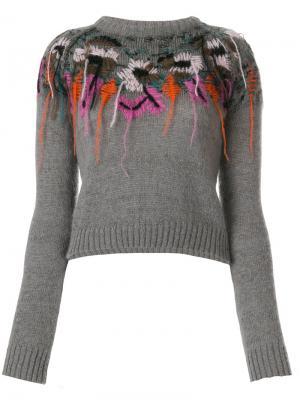 Топ слим с вышивкой A.F.Vandevorst. Цвет: серый