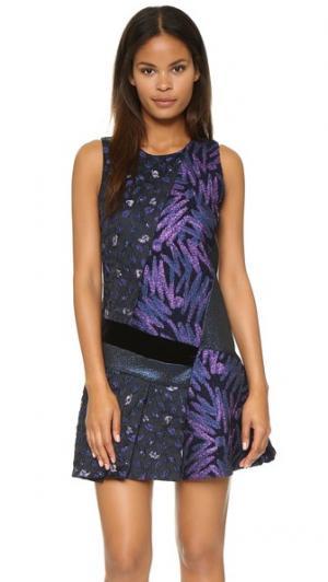 Платье Disco в лоскутной технике с зигзагообразным рисунком Cynthia Rowley. Цвет: черный мульти