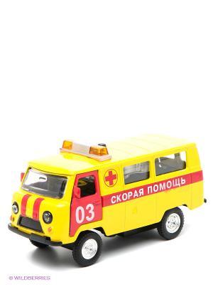 Машина Скорая помощь Технопарк. Цвет: желтый, красный