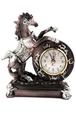 Часы настольные Конь 16x12 Русские подарки. Цвет: белый, серебряный, коричневый