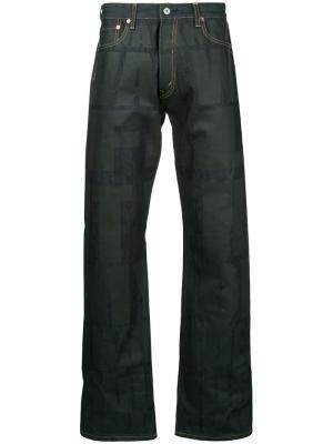 Широкие джинсы с графическим принтом Junya Watanabe Comme Des Garçons Man. Цвет: синий