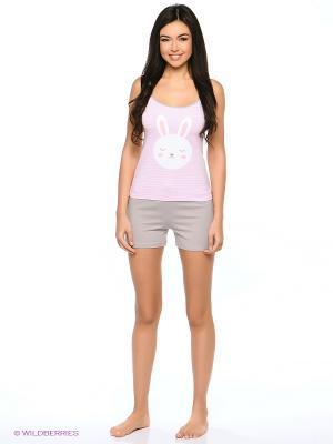 Пижама Mark Formelle. Цвет: розовый, белый, серый