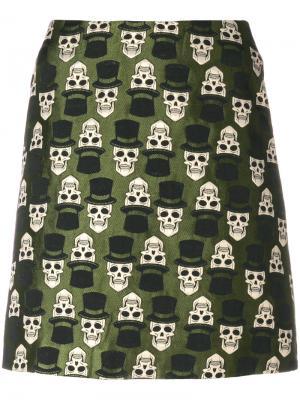 Юбка с вышивкой черепов Ultràchic. Цвет: зелёный