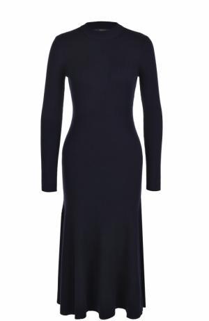 Приталенное платье-миди с длинным рукавом Polo Ralph Lauren. Цвет: темно-синий