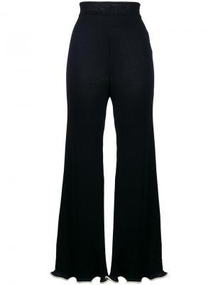 Расклешенные брюки в рубчик с оборками Stella McCartney. Цвет: синий