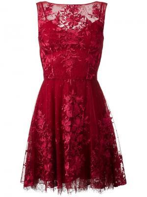 Кружевное платье мини Zuhair Murad. Цвет: красный