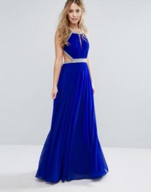 Forever Unique Платье макси с декоративной отделкой. Цвет: синий