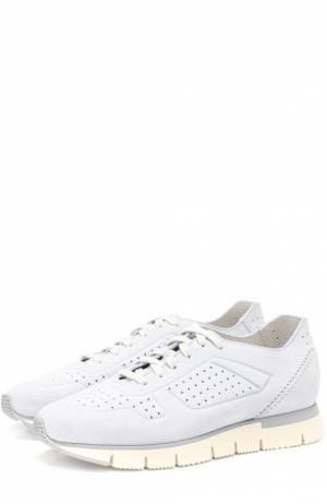 Замшевые кроссовки с перфорацией Santoni. Цвет: голубой