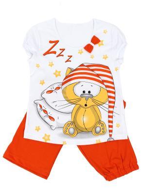 Пижама Basia. Цвет: оранжевый, белый