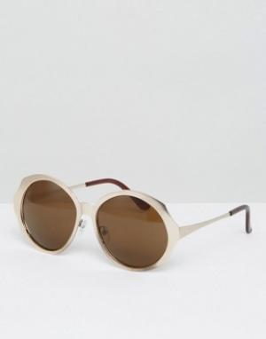 AJ Morgan Солнцезащитные оversize-очки в стиле ретро. Цвет: золотой