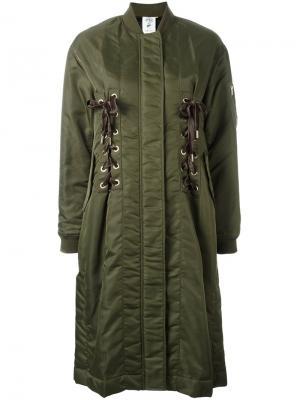 Удлиненное пальто-бомбер Steve J & Yoni P. Цвет: зелёный