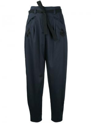 Укороченные зауженные брюки Markus Lupfer. Цвет: синий