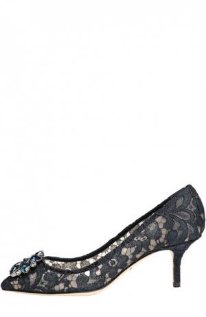 Кружевные туфли Rainbow Lace с брошью Dolce & Gabbana. Цвет: темно-синий