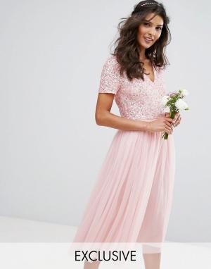 Maya Платье миди с V-образным вырезом пайетками и юбкой из тюля. Цвет: розовый
