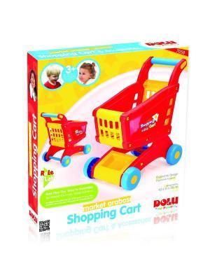 Тележка для супермаркета, цв.красно-желтый (в коробке) Dolu.. Цвет: красный, желтый