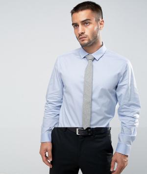 ASOS Синяя узкая рубашка и серый фактурный галстук. Цвет: синий