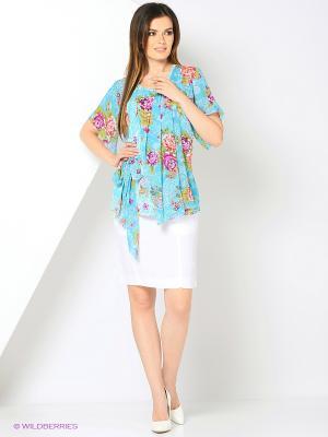 Блузка из эластичной ткани с отделкой шифоном RIJJINI. Цвет: бирюзовый, фуксия, морская волна