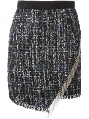Асимметричная юбка с бахромой Marco Bologna. Цвет: чёрный