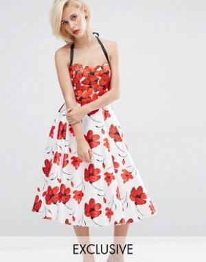 Horrockses Платье миди с цветочным принтом. Цвет: мульти