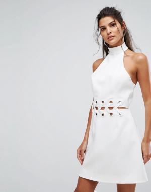 Finders Keepers Платье мини с решетчатой отделкой Unbelievers. Цвет: кремовый