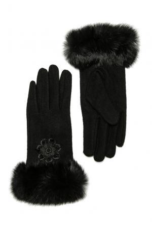 Перчатки из шерсти с отделкой меха 173771 Moltini. Цвет: черный