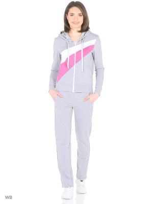 Спортивный костюм FORLIFE. Цвет: светло-серый, белый, розовый