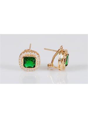 Серьги Lotus Jewelry. Цвет: зеленый