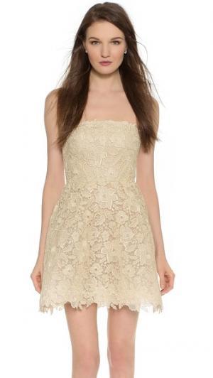 Мини-платье Bellini без бретелек Monique Lhuillier. Цвет: состаренное золото
