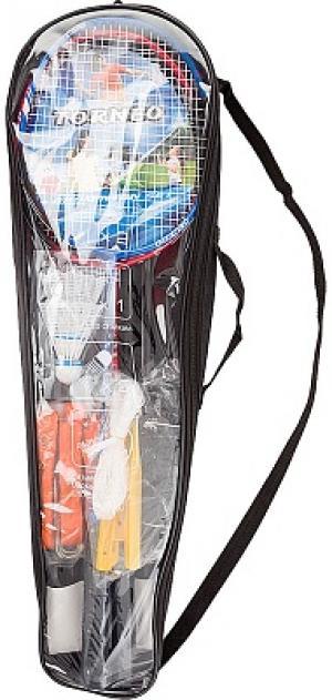 Набор для бадминтона  (2 ракетки, 2 волана, сетка со стойками, разметка, чехол) Torneo