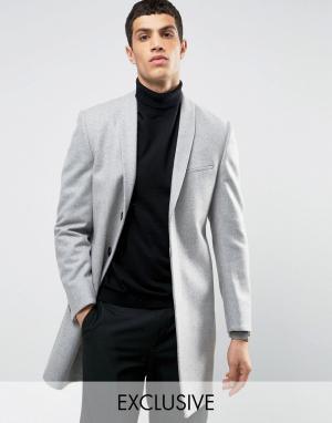 Noak Строгое пальто скинни с лацканами наклонной формы. Цвет: серый
