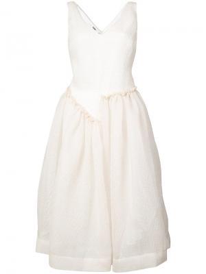 Расклешенное платье с V-образным вырезом Jourden. Цвет: белый