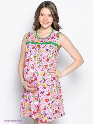 Сорочка для беременных и кормящих ФЭСТ. Цвет: розовый, зеленый
