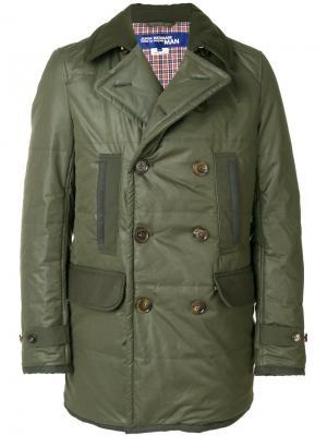 Двубортное пальто Junya Watanabe Comme Des Garçons Man. Цвет: зелёный