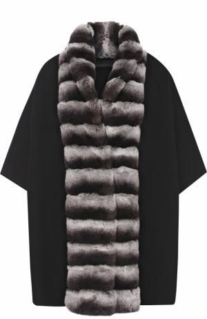 Накидка из смеси шерсти и кашемира с отделкой меха кролика Yves Salomon. Цвет: черный