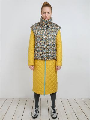 Пальто MAYAMODA. Цвет: серый, светло-желтый, желтый